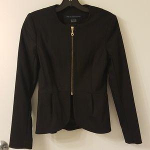 French connection peplum black blazer 0